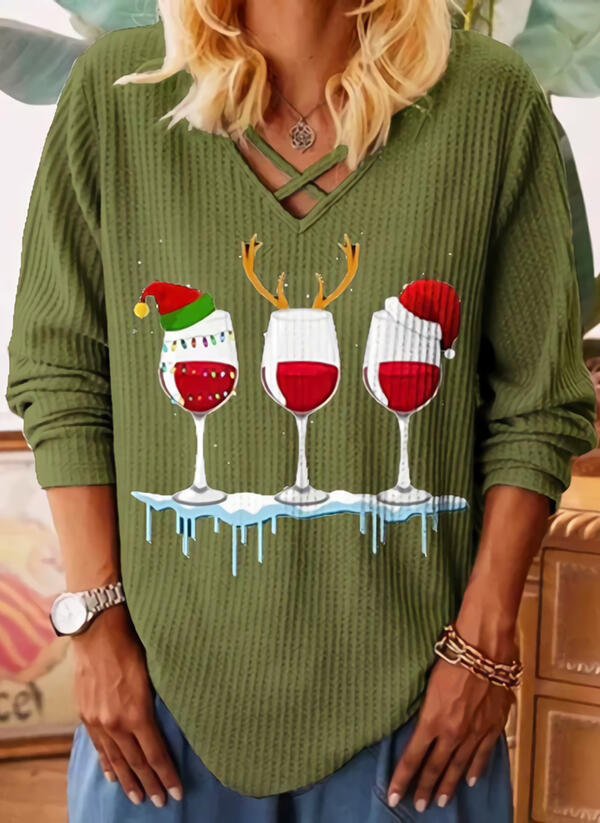 Print V-hals Lange Mouwen Kerstmis Breiwerk Overhemd