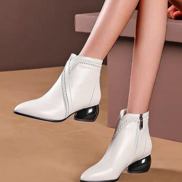 Vrouwen PU Chunky Heel Laarzen Enkel Laarzen Puntige teen met Rits Las kleur schoenen