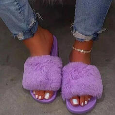 Women's Fake fur Flat Heel Sandals Peep Toe With Faux-Fur shoes