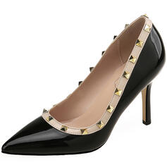 Vrouwen Patent Leather Stiletto Heel Pumps Puntige teen met Klinknagel schoenen