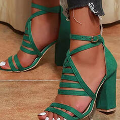 Women's Suede Chunky Heel Sandals Pumps Peep Toe Round Toe With Buckle Hollow-out Solid Color shoes
