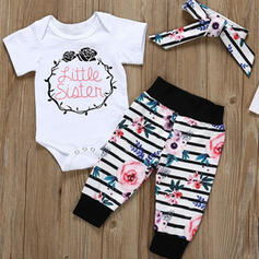 3-pieces Baby Girl Letter Floral Striped Print Cotton Set