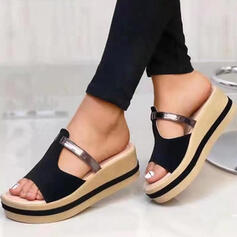Women's Real Leather Wedge Heel Sandals Platform Wedges Peep Toe Slippers With Hollow-out Solid Color shoes