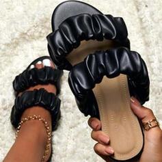 Vrouwen Kunstleer Flat Heel Sandalen Peep Toe met Effen kleur schoenen