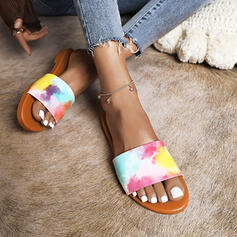 Women's PU Flat Heel Sandals Flats Peep Toe Slippers With Splice Color shoes