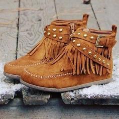 Women's Suede PU Flat Heel Boots With Rivet Buckle Zipper Tassel Solid Color shoes