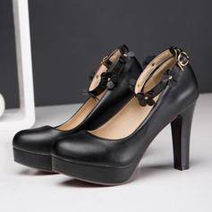 Vrouwen Kunstleer Stiletto Heel Pumps Plateau Closed Toe met Gesp Bloem schoenen