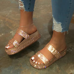 Women's Leatherette Flat Heel Sandals Flats Peep Toe Slippers With Rhinestone Sequin Buckle shoes