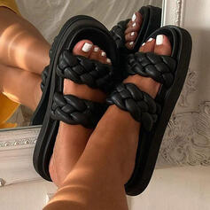Women's PU Flat Heel Sandals Peep Toe Slippers With Hollow-out shoes