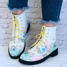 Vrouwen PU Low Heel Laarzen Enkel Laarzen Puntige teen met Vastrijgen Bloemen schoenen
