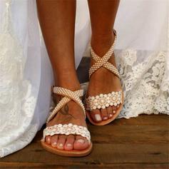 Vrouwen Kant PU Flat Heel Sandalen Peep Toe Slingbacks met Bloem Kriskras schoenen