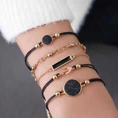 Stylish Layered Alloy Resin With Tag Bracelets (Set of 5)