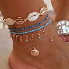 Charme Heetste Schelp Legering met Schelp Strand sieraden Enkelbanden (Set van 5 paren)