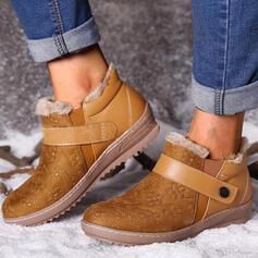Vrouwen PU Flat Heel Enkel Laarzen Snowboots Ronde neus met Gesp Bont Effen kleur schoenen