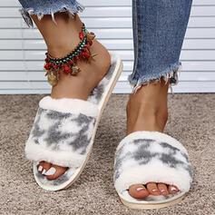 Women's Suede Flat Heel Sandals Peep Toe Slippers With Splice Color shoes