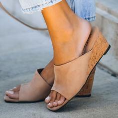 Vrouwen Suede Wedge Heel Sandalen Wedges Peep Toe Slippers met Effen kleur schoenen