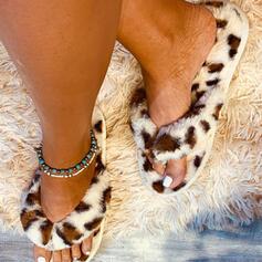 Vrouwen Fluwelen Flat Heel Sandalen Peep Toe met Dier Afdrukken schoenen