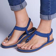 Vrouwen PU Flat Heel Sandalen Peep Toe Lage top Teen Ring met Hol-out Elastiek Effen kleur schoenen