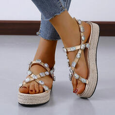 Vrouwen Kunstleer Wedge Heel Sandalen Plateau Peep Toe Slingbacks Slippers met Strass schoenen