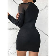 Solid/Beaded Long Sleeves Bodycon Above Knee Little Black/Elegant Sweater Dresses