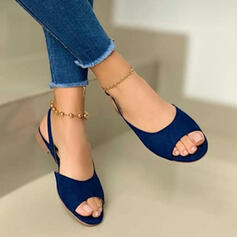 Women's Suede Flat Heel Sandals Flats Peep Toe With Buckle Hollow-out shoes