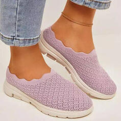 Women's Cloth Mesh Flat Heel Flats Round Toe Slip On With Solid Color shoes