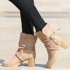 Vrouwen Suede Chunky Heel Half-Kuit Laarzen Ronde neus met Vastrijgen schoenen