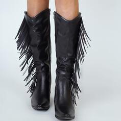 Vrouwen Microfiber Chunky Heel Over De Knie Laarzen Puntige teen met Rits Tassel schoenen