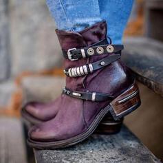 Vrouwen PU Chunky Heel Enkel Laarzen Martin Boots Ronde neus met Gesp Rits schoenen