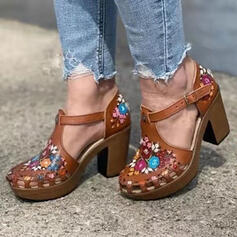 Women's PU Chunky Heel Sandals Round Toe With Satin Flower Hollow-out shoes