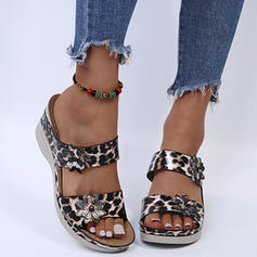 Women's PU Flat Heel Sandals Flats Peep Toe Slippers Round Toe With Buckle Animal Print Flower shoes