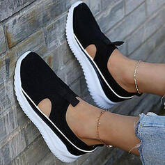 Women's Cloth Mesh Flat Heel Flats Low Top Round Toe Sneakers Slip On With Solid Color shoes