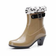 PVC Chunky Heel Half-Kuit Laarzen Snowboots Regenlaarzen Ronde neus Aantrekken met Gesp schoenen