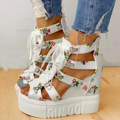 Women's PU Wedge Heel Sandals Platform Wedges Peep Toe Heels With Buckle Flower Crisscross shoes