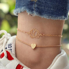 Charming Delicate Romantic Alloy With Heart Shaped Women's Ladies' Girl's Anklets 2 PCS