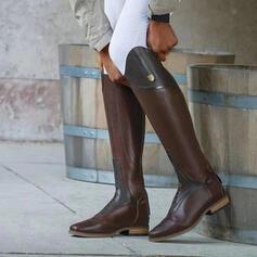 Vrouwen PU Chunky Heel Knie Lengte Laarzen Ronde neus met Vastrijgen Effen kleur schoenen