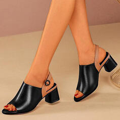 Women's PU Chunky Heel Peep Toe Ankle Boots With Buckle Splice Color shoes