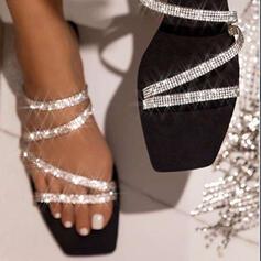 Vrouwen Sprankelende Glitter Flat Heel Sandalen Peep Toe Slippers met Strass Sprankelende Glitter schoenen