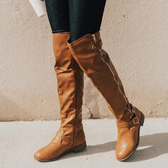 Women's Leatherette Low Heel Over The Knee Boots Riding Boots Round Toe With Buckle Ruched Zipper Solid Color shoes