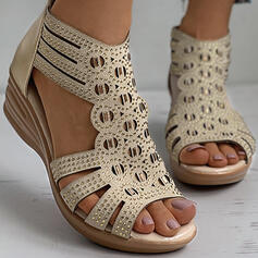 Women's PU Wedge Heel Sandals Wedges Peep Toe Heels With Rhinestone Zipper shoes