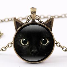 Black Cat Alloy Glass Women's Necklaces