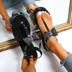 Women's PU Flat Heel Flats Flip-Flops Slippers Round Toe With Rhinestone Bowknot Sparkling Glitter Solid Color shoes