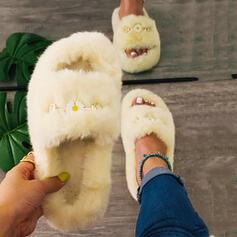 Vrouwen Fluwelen Flat Heel Slippers met Bont schoenen