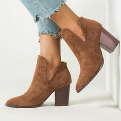 Women's Suede Chunky Heel Closed Toe Boots Ankle Boots Winter Boots With Solid Color shoes