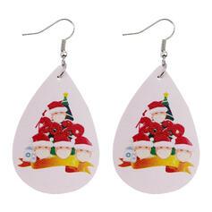 Drop Shape Christmas Survivor 2020 PU Women's Earrings 2 PCS