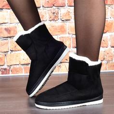 Vrouwen Suede Flat Heel Snowboots Ronde neus met Bont Effen kleur schoenen