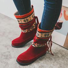 Vrouwen Suede PU Flat Heel Half-Kuit Laarzen Snowboots Ronde neus met Tassel Las kleur schoenen