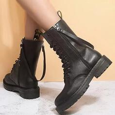 Vrouwen PU Low Heel Enkel Laarzen Martin Boots Ronde neus met Rits Vastrijgen Effen kleur schoenen