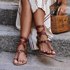 PU Flat Heel Sandals Flats Peep Toe Toe Ring With Buckle shoes