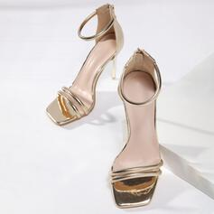 Women's PU Stiletto Heel Sandals Pumps Peep Toe Square Toe With Hollow-out shoes